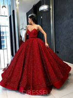 Luxurious Red Ball Gown Sweetheart Sleeveless Long Prom Dress