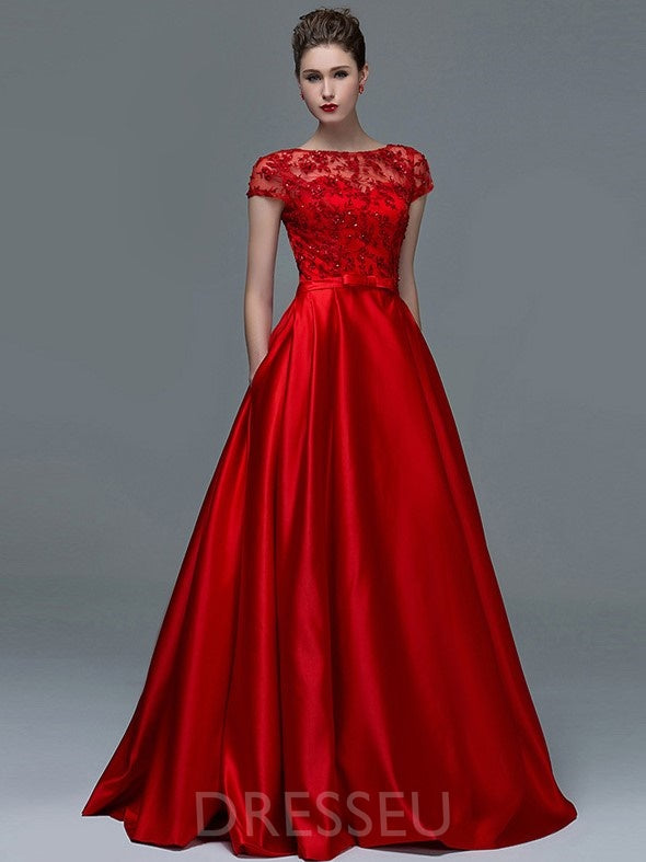 Short Sleeves A-Line Bateau Floor-Length Evening Dress