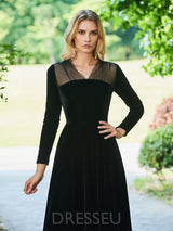 Long Sleeves Floor-Length V-Neck A-Line Cocktail Dress