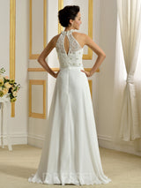 Beading Halter Sleeveless Floor-Length Beach Wedding Dress