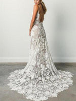 Trumpet/Mermaid Sleeveless Spaghetti Straps Floor-Length Lace Wedding Dress