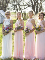 Floor-Length Lace A-Line Scoop Bridesmaid Dress