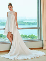 Asymmetry High Neck A-Line Chapel Train Wedding Dress