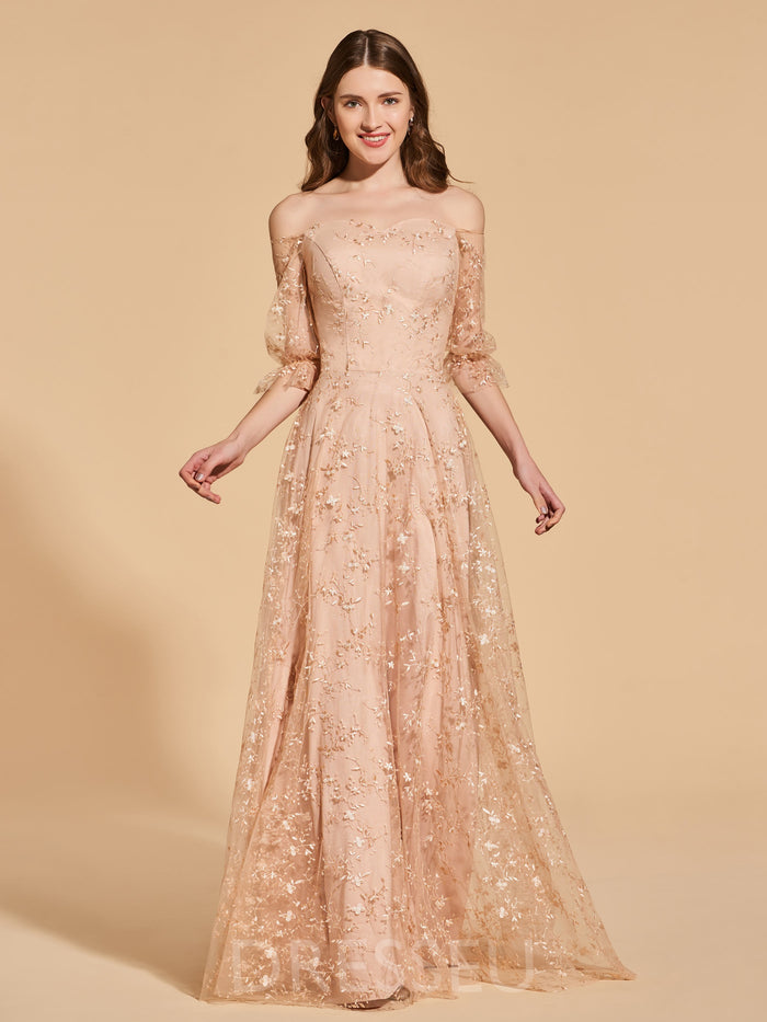 Floor-Length Off-The-Shoulder Half Sleeves Lace Prom Dress