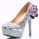 Platform Stiletto Heel Round Toe Slip-On Color Block Wedding Thin Shoes