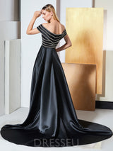 A-Line Sweep/Brush Sweetheart Beading Evening Dress
