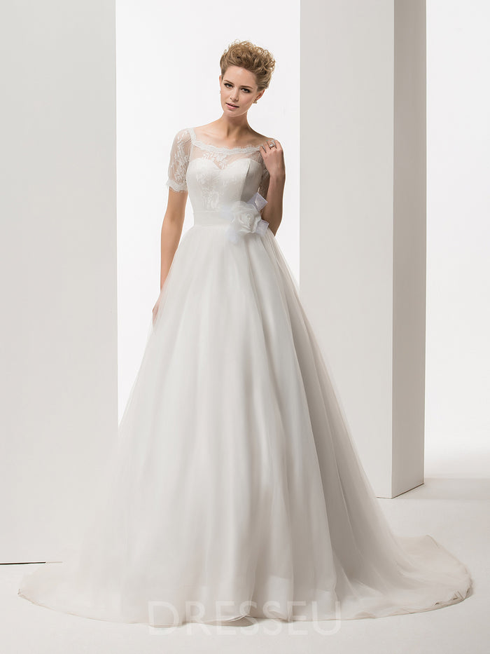 Floor-Length Short Sleeves Court Train Lace Wedding Dress