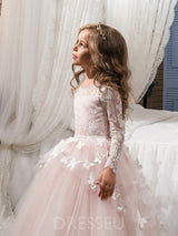Scoop Long Sleeves Butterfly Ball Gown Flower Girl Dress