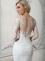 Trumpet/Mermaid Court Train Scoop Long Sleeves Wedding Dress