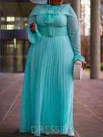 Stand Collar Pleated Long Sleeve Pullover High Waist Dress