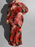 Print Long Sleeve Floor-Length Bodycon Regular Dress