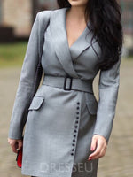 Notched Lapel Asymmetric Long Sleeve A-Line Plain Dress
