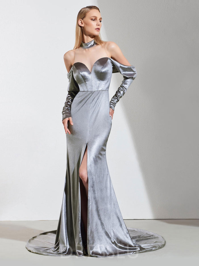 Trumpet/Mermaid Split-Front Floor-Length Long Sleeves Evening Dress