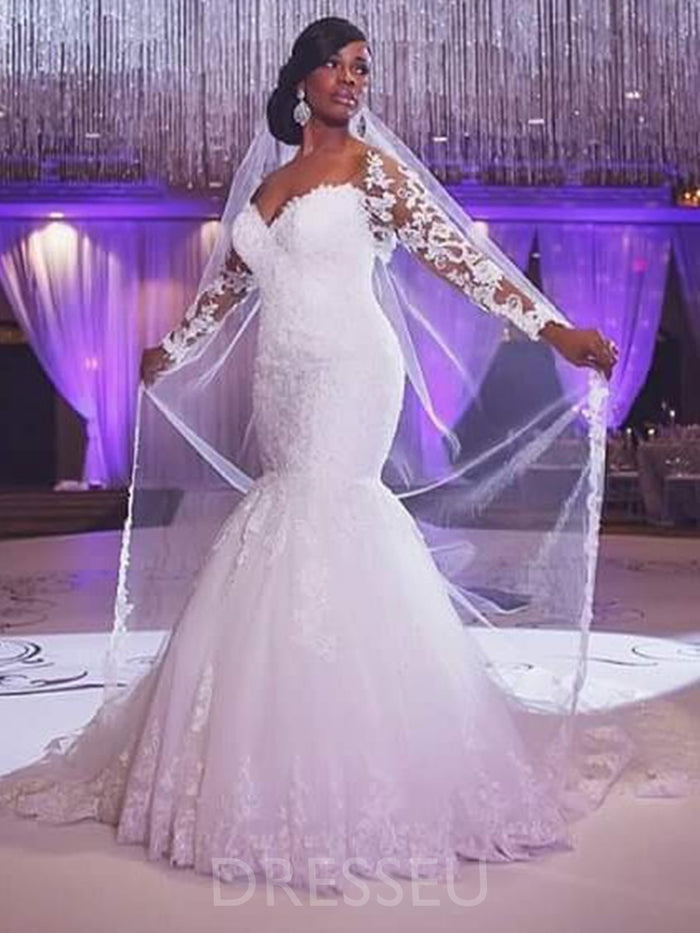 Appliques Off-The-Shoulder Floor-Length Court Plus Size Wedding Dress