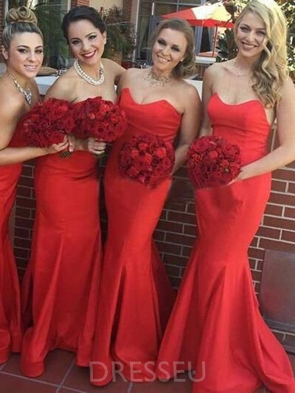 Sleeveless Sweep/Brush Sweetheart Trumpet/Mermaid Bridesmaid Dress