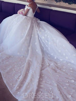Ball Gown Cathedral Flowers Floor-Length Hall Wedding Dress