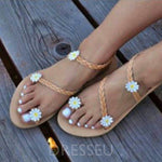 Slip-On Toe Ring Appliques Casual Sandals