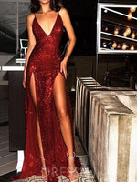 V-Neck Sheath/Column Sequins Sleeveless Sexy Backless Prom Dress