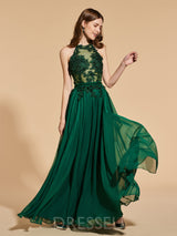Sleeveless A-Line Sashes/Ribbons Floor-Length Prom Dress