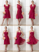 Ruched Knee-Length A-Line Sleeveless 30D Chiffon Bridesmaid Dress