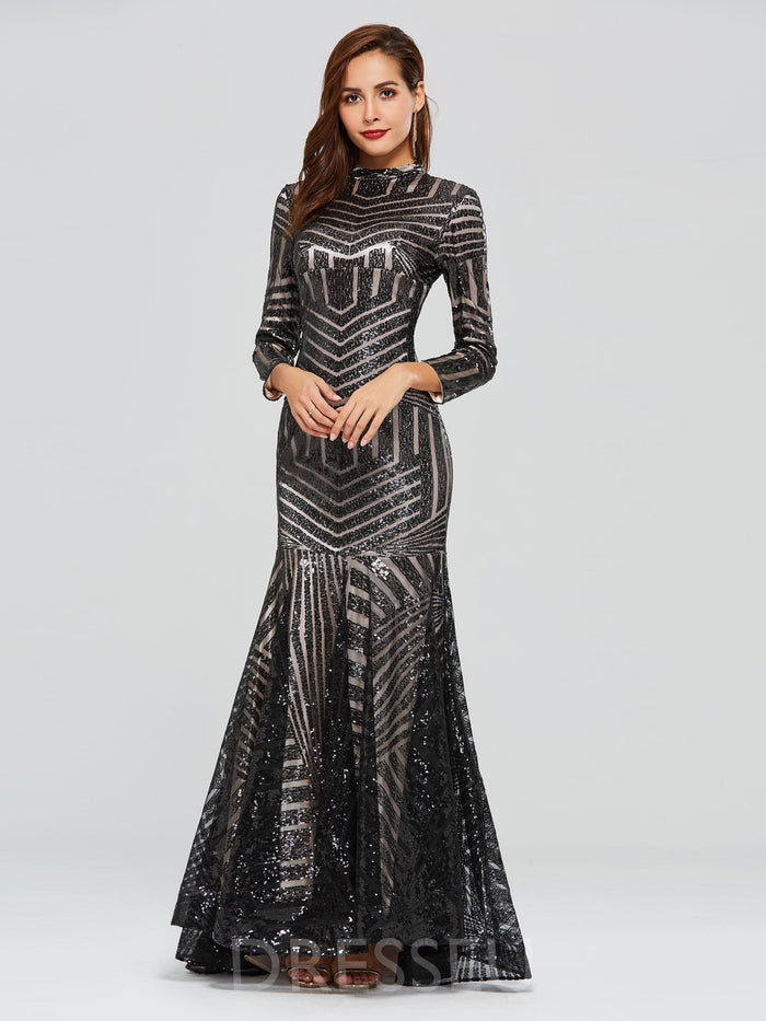 Sequins Floor-Length Trumpet/Mermaid High Neck Evening Dress