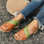 Heel Covering Open Toe Flat With Slip-On Color Block Low-Cut Upper Sandals