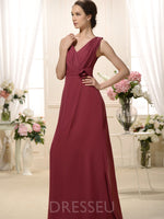 V-Neck Sleeveless Floor-Length A-Line Prom Dress