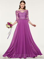 Floor-Length 3/4 Length Sleeves Bateau Beading Bridesmaid Dress