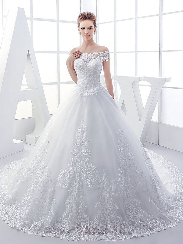 Ball Gown Off-The-Shoulder Sleeveless Open Back Floor-Length Tulle Wedding Dress