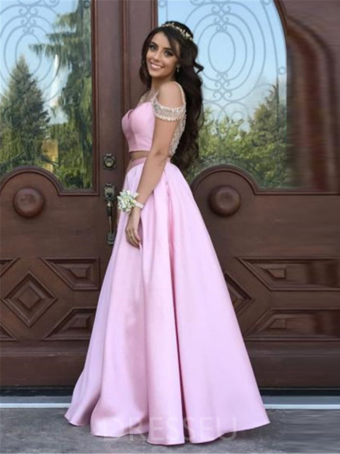 A-Line Short Sleeves Floor-Length Beading Prom Dress