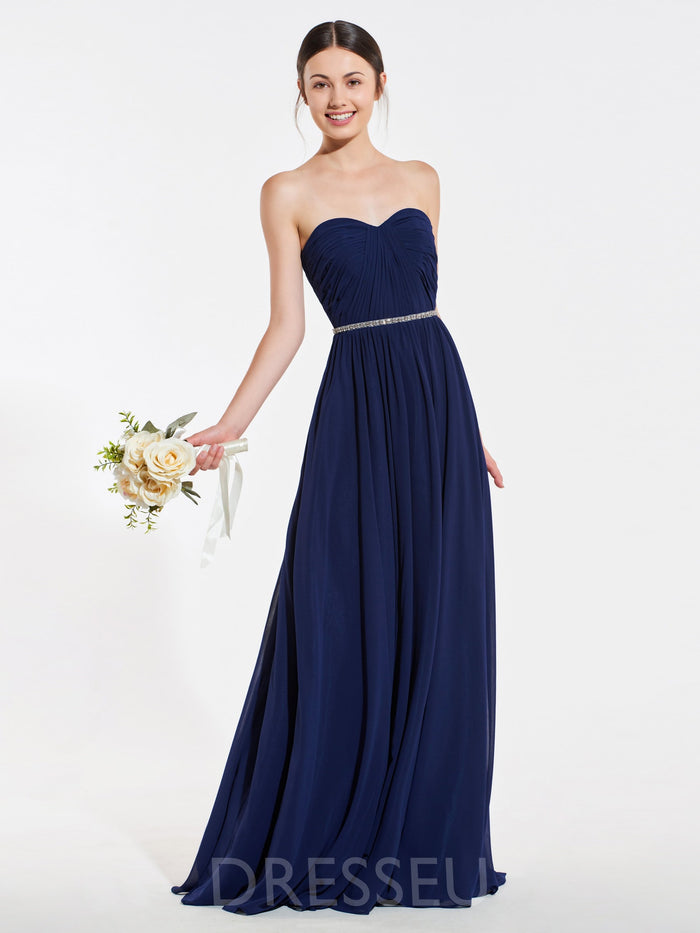 A-Line Sweetheart Floor-Length Sleeveless Bridesmaid Dress