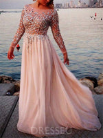 Long Sleeves Floor-Length A-Line Beading Evening Dress