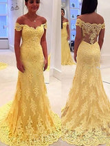 Off-The-Shoulder Trumpet/Mermaid Long Yellow Evening Dress