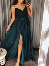 Spaghetti Straps Floor-Length Sleeveless A-Line Sweep/Brush Train Split-Front Evening Dress