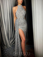 Sleeveless Floor-Length Sequins Straight Zipper Dress