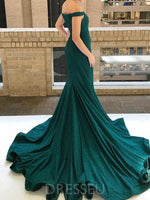Mermaid Off-the-Shoulder Green Sparkly Prom Dress with Sweep Train