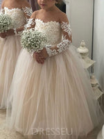 Floor-Length A-Line Appliques Long Sleeves Flower Girl Dress