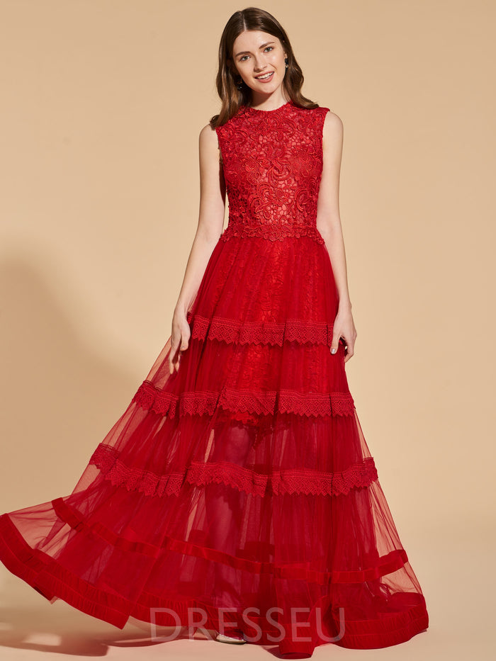 Floor-Length Sleeveless Scoop Lace Prom Dress