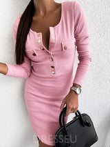 Long Sleeve Button Scoop Pullover Plain Dress