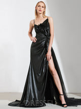 Floor-Length Split-Front Spaghetti Straps Sweep/Brush Evening Dress