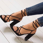 Open Toe Chunky Heel Strappy Lace-Up Low-Cut Upper Casual Sandals