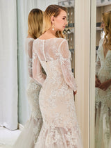 Cathedral Long Sleeves Appliques V-Neck Church Wedding Dress