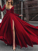 A-Line Split-Front V-Neck Long Sleeves Prom Dress