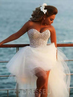 A-Line Short/Mini Sweetheart Beading Wedding Dress
