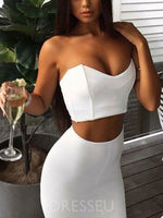 White Trumpet/Mermaid Floor-Length Sleeveless V-Neck Two Piece Prom Dress