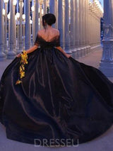 Court Train Ball Gown Asymmetry Ruched Black Evening Dress