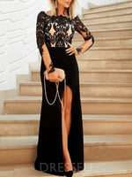 Long Sleeves Split-Front Sheath/Column Floor-Length Wedding Party Dress