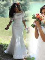 1/2 Sleeves Lace Sweep/Brush Train Floor-Length Trumpet/Mermaid Off-The-Shoulder Wedding Dress