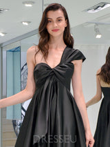 Cap Sleeves One Shoulder Floor-Length Ruched Formal Dress