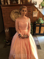 Ball Gown Off Shoulder Bowknot Long Sleeves Satin Prom Dress with Appliques
